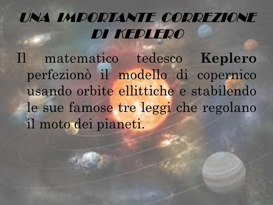 UNA IMPORTANTE CORREZIONE DI KEPLERO Il matematico tedesco Keplero perfezionò il modello di copernico usando orbite ellittiche e stabilendo le sue fam