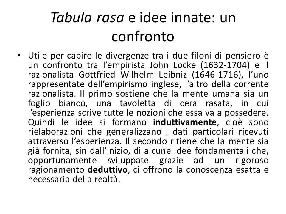 Tabula rasa e idee innate: un confronto Utile per capire le divergenze tra i due filoni di pensiero è un confronto tra lempirista John Locke (1632-170