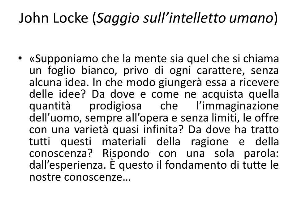 John Locke (Saggio sullintelletto umano) «Supponiamo che la mente sia quel che si chiama un foglio bianco, privo di ogni carattere, senza alcuna idea.