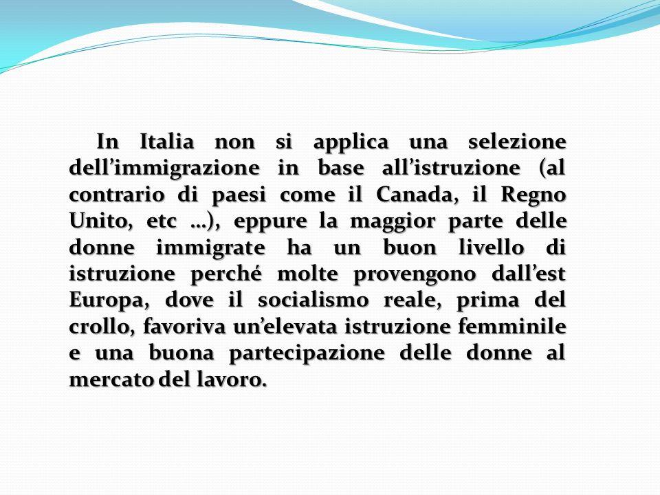 In Italia non si applica una selezione dellimmigrazione in base allistruzione (al contrario di paesi come il Canada, il Regno Unito, etc …), eppure la maggior parte delle donne immigrate ha un buon livello di istruzione perché molte provengono dallest Europa, dove il socialismo reale, prima del crollo, favoriva unelevata istruzione femminile e una buona partecipazione delle donne al mercato del lavoro.