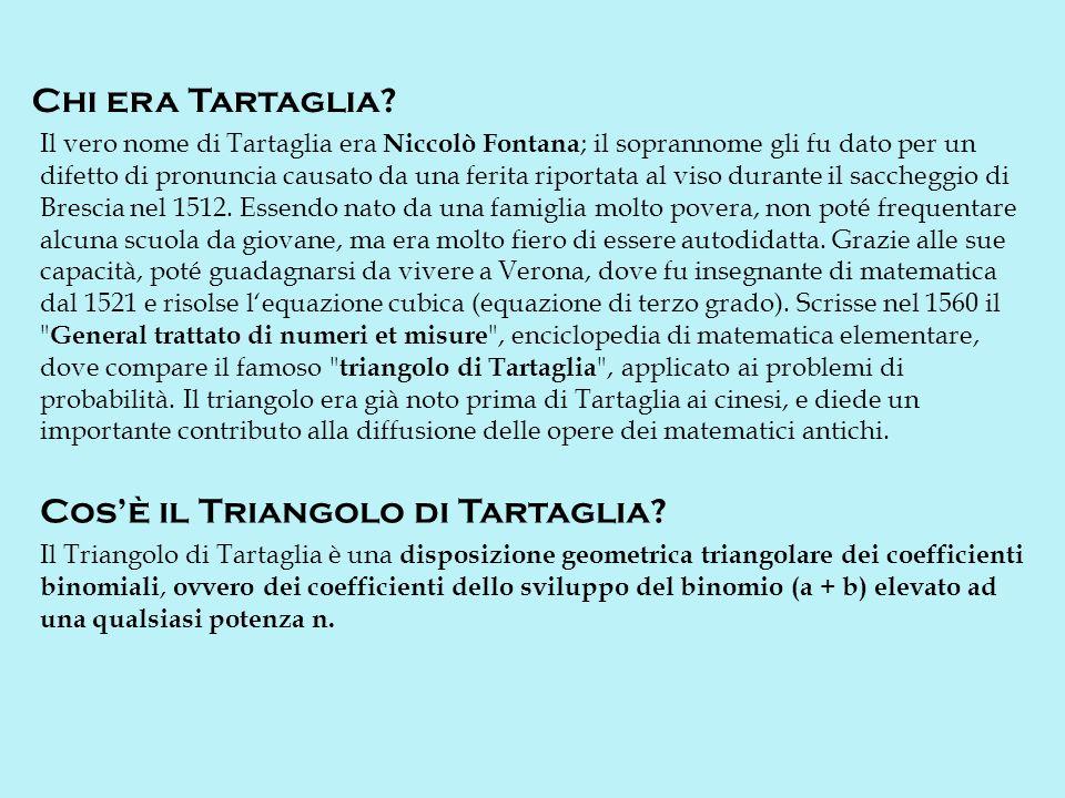Lapplicazione principale del Triangolo di Tartaglia è nello sviluppo delle potenze di un binomio.
