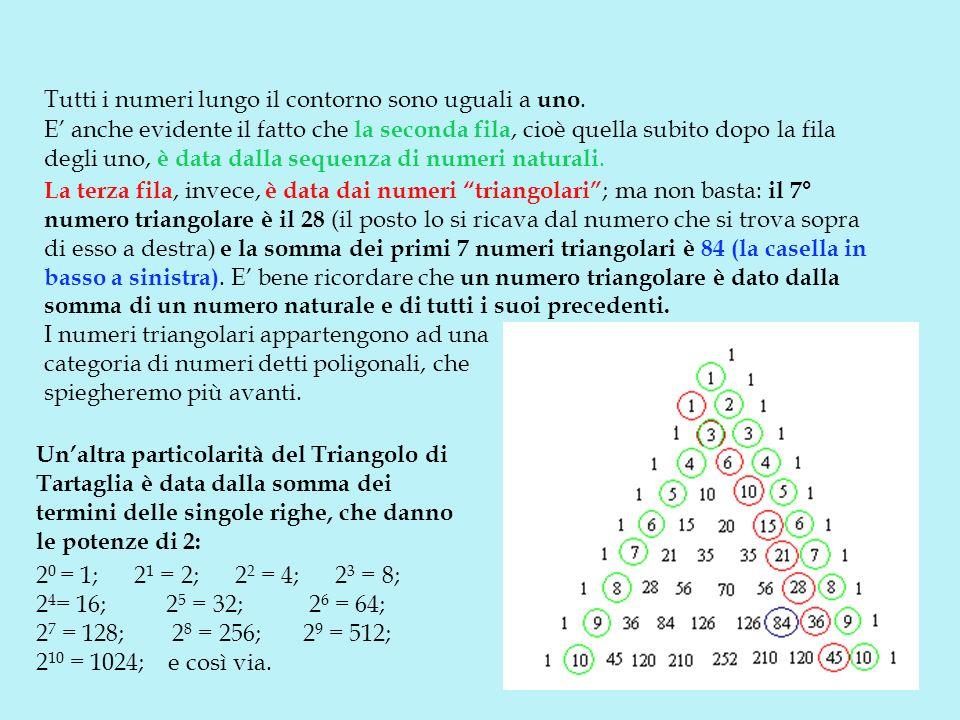 E anche evidente il fatto che la seconda fila, cioè quella subito dopo la fila degli uno, è data dalla sequenza di numeri naturali. La terza fila, inv