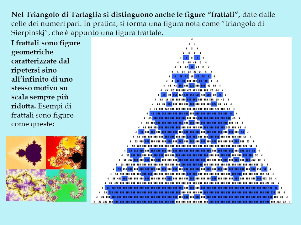 Nel Triangolo di Tartaglia si distinguono anche le figure frattali, date dalle celle dei numeri pari. In pratica, si forma una figura nota come triang