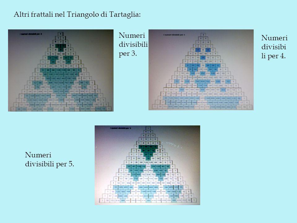 Altri frattali nel Triangolo di Tartaglia: Numeri divisibili per 5. Numeri divisibi li per 4. Numeri divisibili per 3.