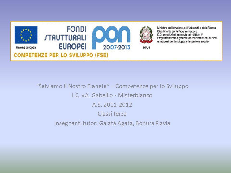 Salviamo il Nostro Pianeta – Competenze per lo Sviluppo I.C. «A. Gabelli» - Misterbianco A.S. 2011-2012 Classi terze Insegnanti tutor: Galatà Agata, B