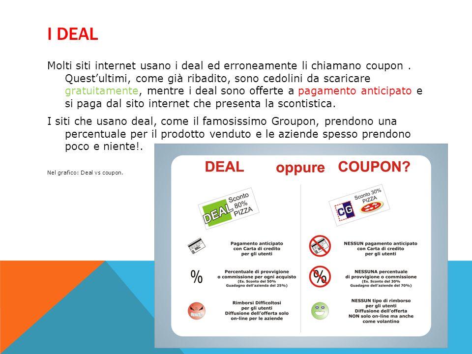 DEAL VS COUPON 1.Se un ristorante pubblicizza con un sito di deals un offerta del 50% per una cena, otterrà solo il 25% di ricavato (comprese tasse) e il sito che ha proposto il deal il restante 25%.