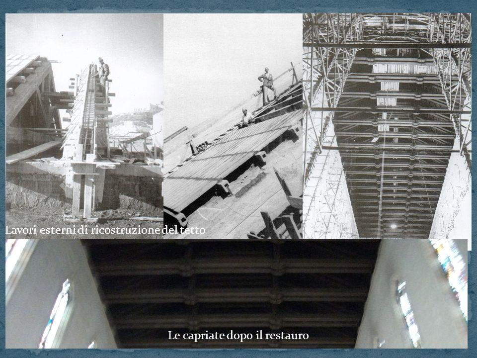 Lavori esterni di ricostruzione del tetto Le capriate dopo il restauro