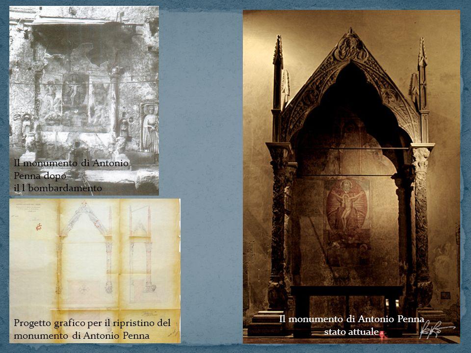 Progetto grafico per il ripristino del monumento di Antonio Penna Il monumento di Antonio Penna dopo il l bombardamento Il monumento di Antonio Penna