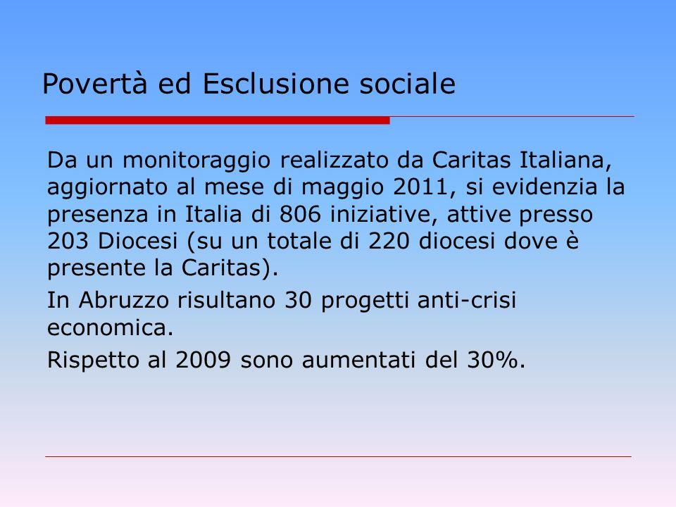 Povertà ed Esclusione sociale Da un monitoraggio realizzato da Caritas Italiana, aggiornato al mese di maggio 2011, si evidenzia la presenza in Italia di 806 iniziative, attive presso 203 Diocesi (su un totale di 220 diocesi dove è presente la Caritas).