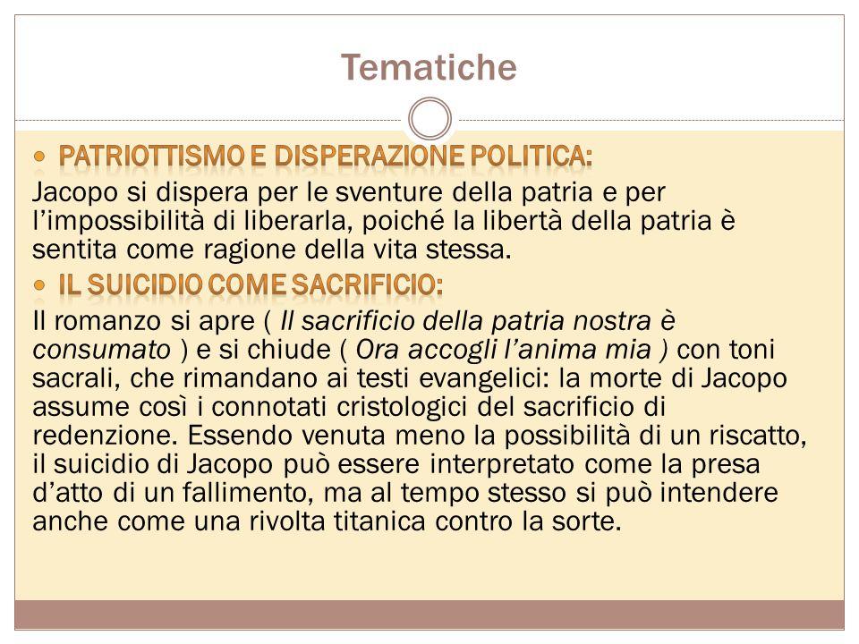 Trama Jacopo, giovane intellettuale veneto fautore degli ideali democratici, scrive all'amico Lorenzo Alderani le sue dolorose vicende. Costretto a la
