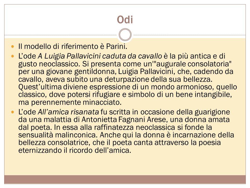 Poesie Sono una raccolta di dodici sonetti e due odi, A Luigia Pallavicini caduta da cavallo e Allamica risanata. Convergono due elementi fondamentali