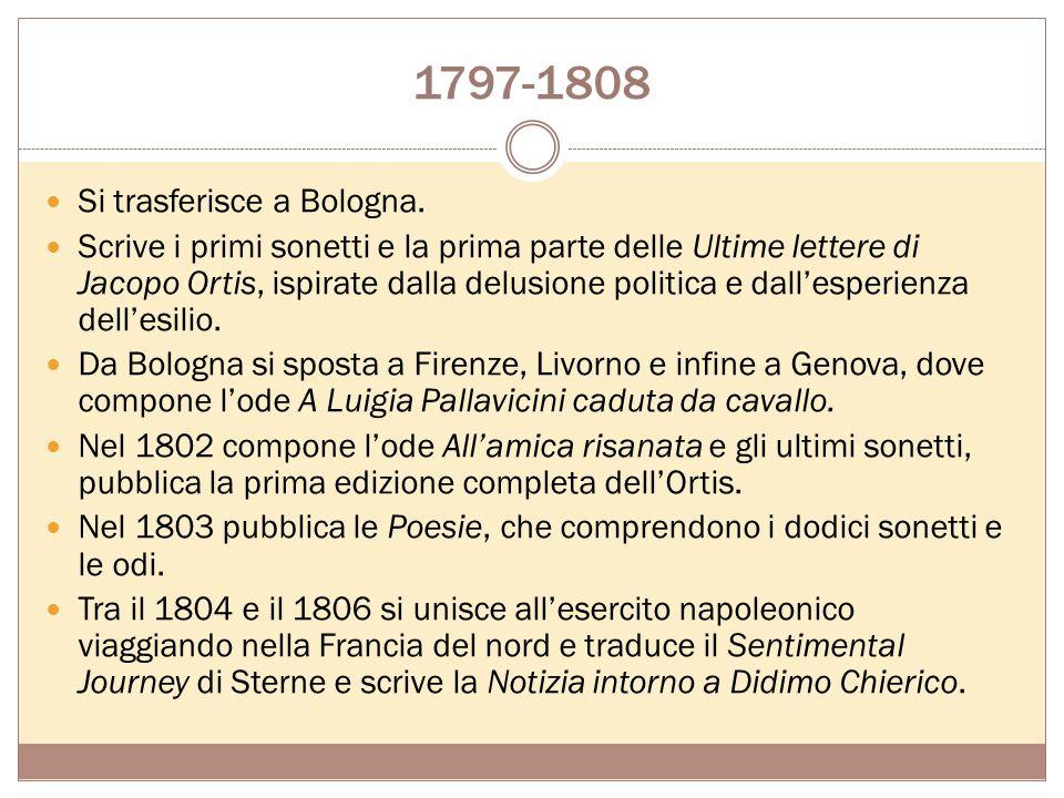 1793-1797 Si inserisce nellambiente colto e raffinato dei salotti veneziani. Studia con grande passione i classici greci e latini, gli italiani antich