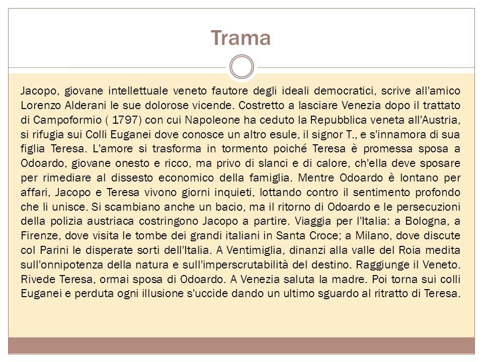 Trama Jacopo, giovane intellettuale veneto fautore degli ideali democratici, scrive all amico Lorenzo Alderani le sue dolorose vicende.