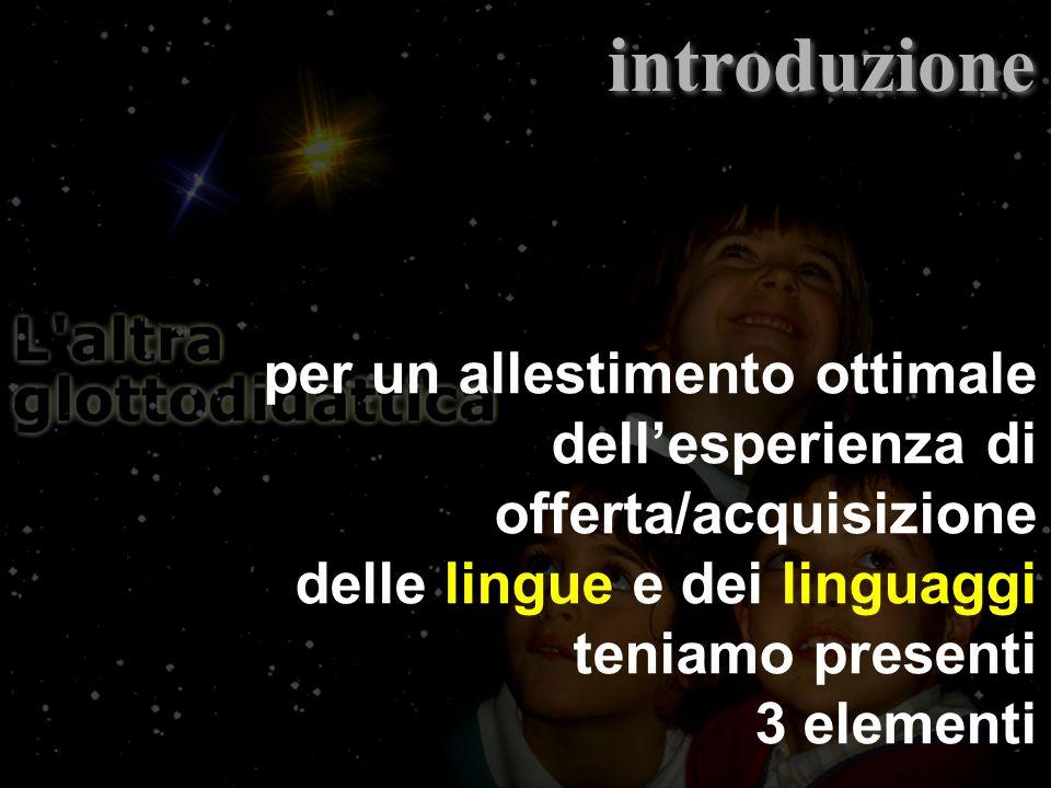 per un allestimento ottimale dellesperienza di offerta/acquisizione delle lingue e dei linguaggi teniamo presenti 3 elementi introduzione