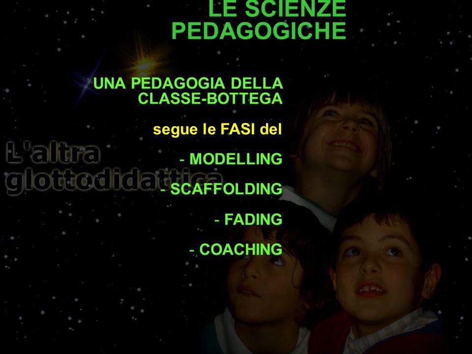 UNA PEDAGOGIA DELLA CLASSE-BOTTEGA segue le FASI del - MODELLING - SCAFFOLDING - FADING - COACHING LE SCIENZE PEDAGOGICHE