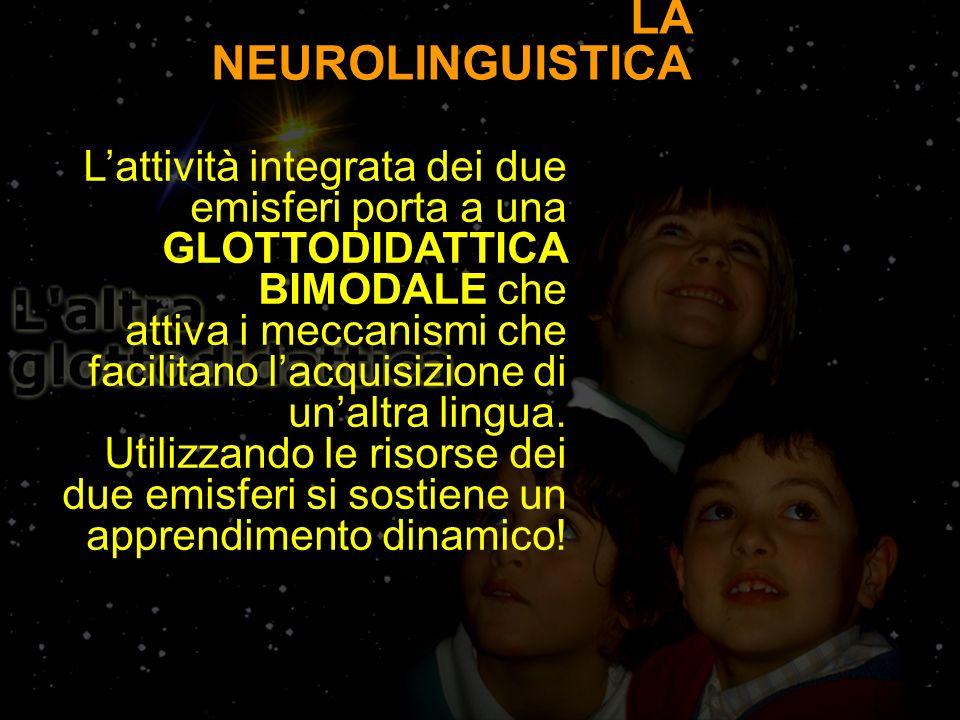 LA NEUROLINGUISTICA Lattività integrata dei due emisferi porta a una GLOTTODIDATTICA BIMODALE che attiva i meccanismi che facilitano lacquisizione di unaltra lingua.