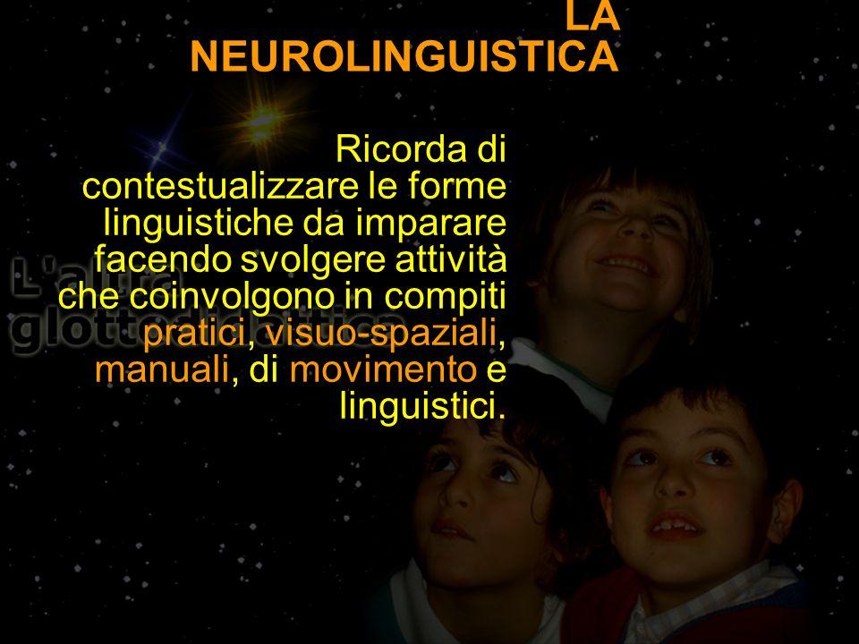 LA NEUROLINGUISTICA Ricorda di contestualizzare le forme linguistiche da imparare facendo svolgere attività che coinvolgono in compiti pratici, visuo-spaziali, manuali, di movimento e linguistici.