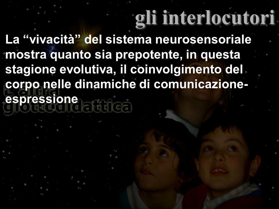 La vivacità del sistema neurosensoriale mostra quanto sia prepotente, in questa stagione evolutiva, il coinvolgimento del corpo nelle dinamiche di comunicazione- espressione gli interlocutori