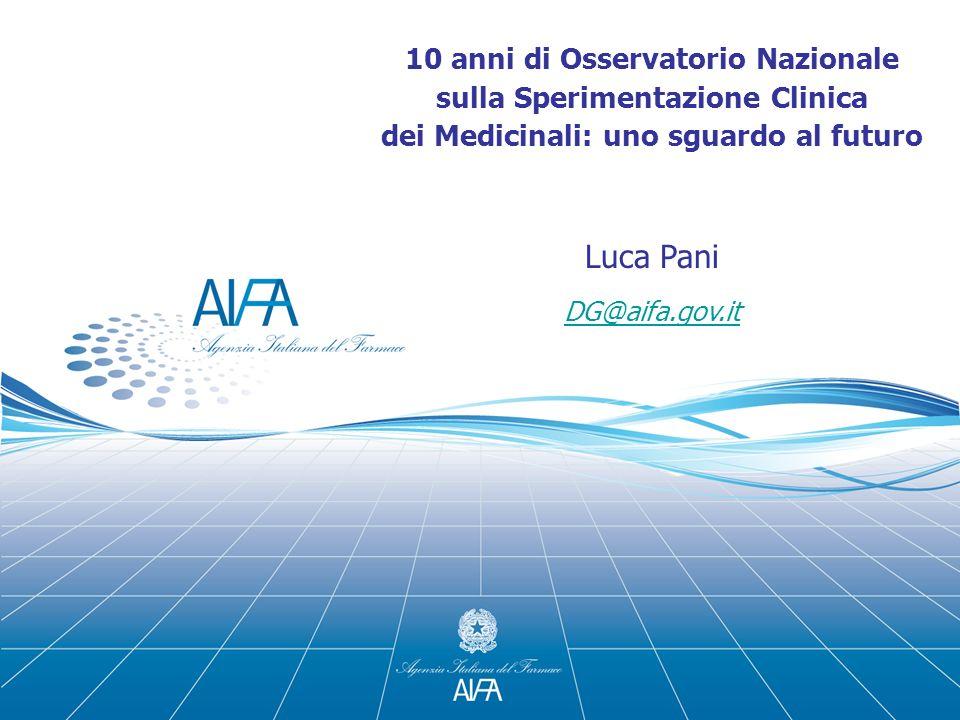 10 anni di Osservatorio Nazionale sulla Sperimentazione Clinica dei Medicinali: uno sguardo al futuro Luca Pani DG@aifa.gov.it