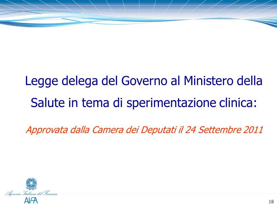 Legge delega del Governo al Ministero della Salute in tema di sperimentazione clinica: Approvata dalla Camera dei Deputati il 24 Settembre 2011 18