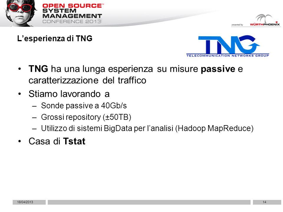 18/04/201314 Lesperienza di TNG TNG ha una lunga esperienza su misure passive e caratterizzazione del traffico Stiamo lavorando a –Sonde passive a 40Gb/s –Grossi repository (±50TB) –Utilizzo di sistemi BigData per lanalisi (Hadoop MapReduce) Casa di Tstat