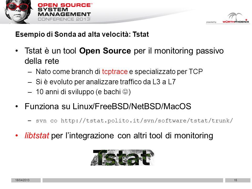 Tstat è un tool Open Source per il monitoring passivo della rete –Nato come branch di tcptrace e specializzato per TCP –Si è evoluto per analizzare traffico da L3 a L7 –10 anni di sviluppo (e bachi ) Funziona su Linux/FreeBSD/NetBSD/MacOS – svn co http://tstat.polito.it/svn/software/tstat/trunk/ libtstat per lintegrazione con altri tool di monitoring Esempio di Sonda ad alta velocità: Tstat 18/04/201315