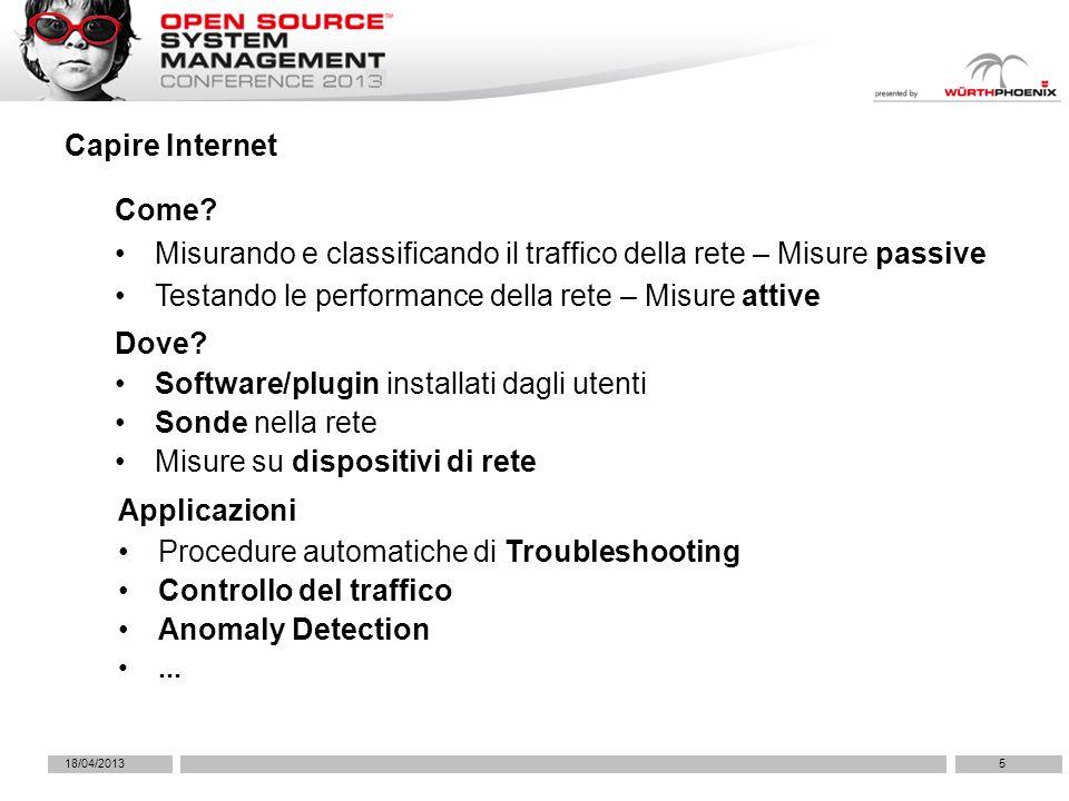 18/04/20135 Capire Internet Misurando e classificando il traffico della rete – Misure passive Testando le performance della rete – Misure attive Come?