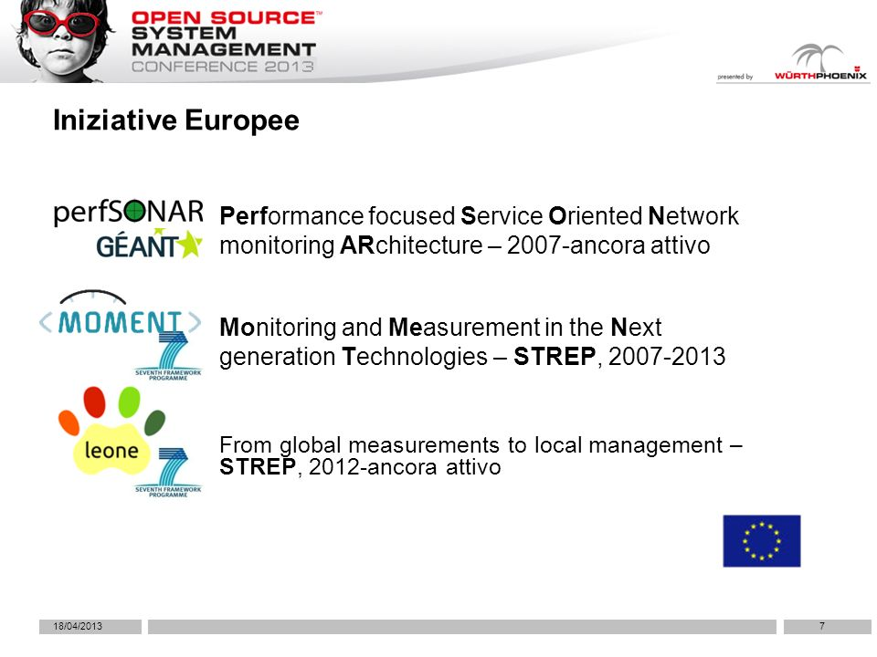 7 Iniziative Europee 18/04/2013 Performance focused Service Oriented Network monitoring ARchitecture – 2007-ancora attivo Monitoring and Measurement in the Next generation Technologies – STREP, 2007-2013 From global measurements to local management – STREP, 2012-ancora attivo
