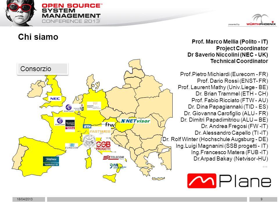 18/04/20139 Chi siamo Consorzio Prof. Marco Mellia (Polito - IT) Project Coordinator Dr Saverio Niccolini (NEC - UK) Technical Coordinator Prof.Pietro