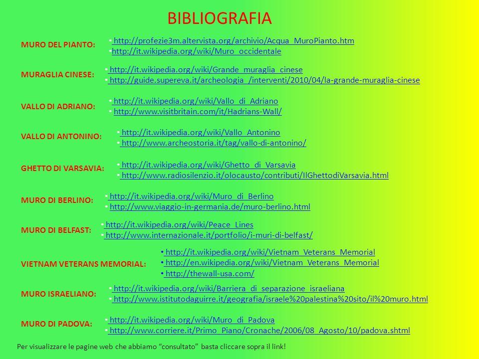 MURO DEL PIANTO: http://profezie3m.altervista.org/archivio/Acqua_MuroPianto.htm http://it.wikipedia.org/wiki/Muro_occidentale VIETNAM VETERANS MEMORIA