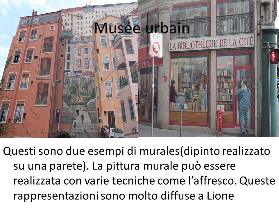 Questi sono due esempi di murales(dipinto realizzato su una parete). La pittura murale può essere realizzata con varie tecniche come laffresco. Queste