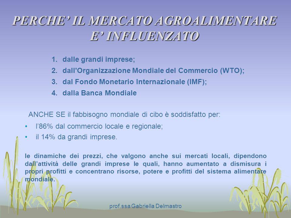 PERCHE IL MERCATO AGROALIMENTARE E INFLUENZATO ANCHE SE il fabbisogno mondiale di cibo è soddisfatto per: l86% dal commercio locale e regionale; il 14% da grandi imprese.
