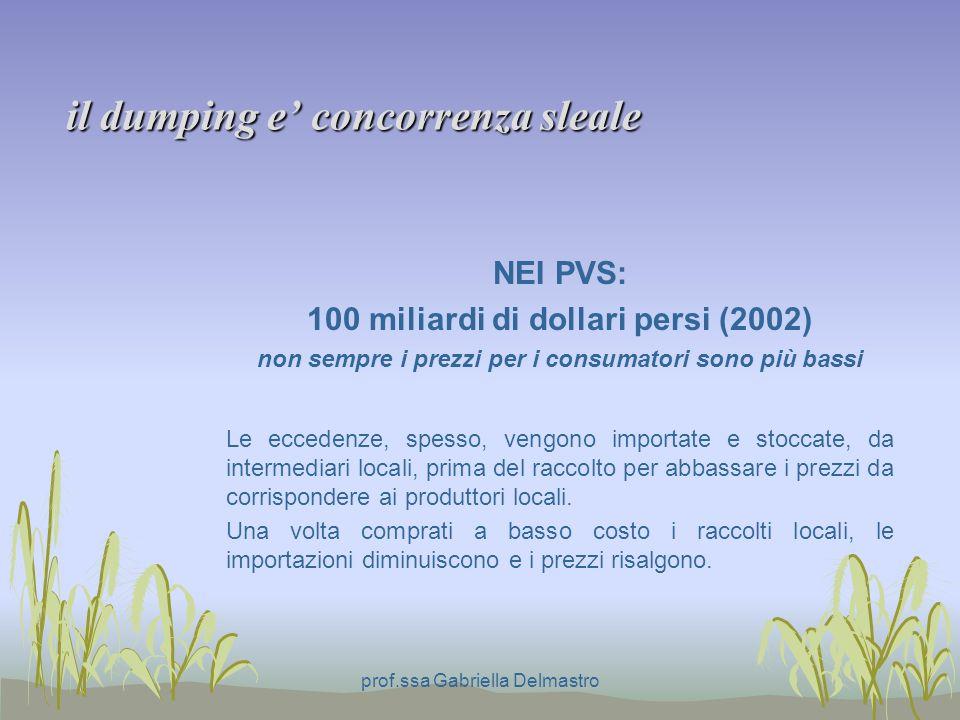 il dumping e concorrenza sleale NEI PVS: 100 miliardi di dollari persi (2002) non sempre i prezzi per i consumatori sono più bassi Le eccedenze, spesso, vengono importate e stoccate, da intermediari locali, prima del raccolto per abbassare i prezzi da corrispondere ai produttori locali.