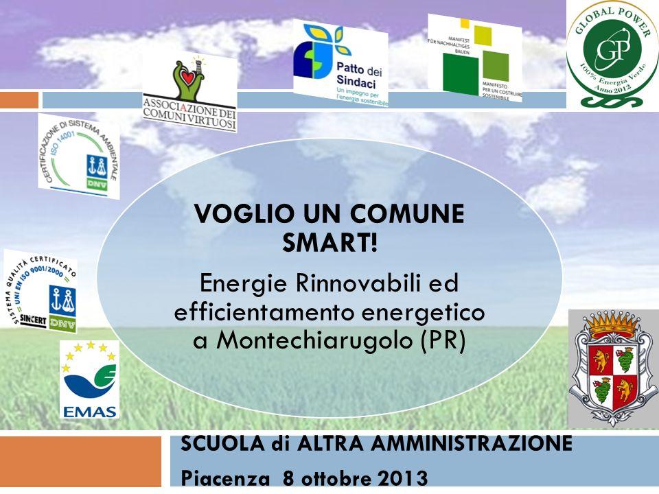 VOGLIO UN COMUNE SMART! Energie Rinnovabili ed efficientamento energetico a Montechiarugolo (PR) SCUOLA di ALTRA AMMINISTRAZIONE Piacenza 8 ottobre 20