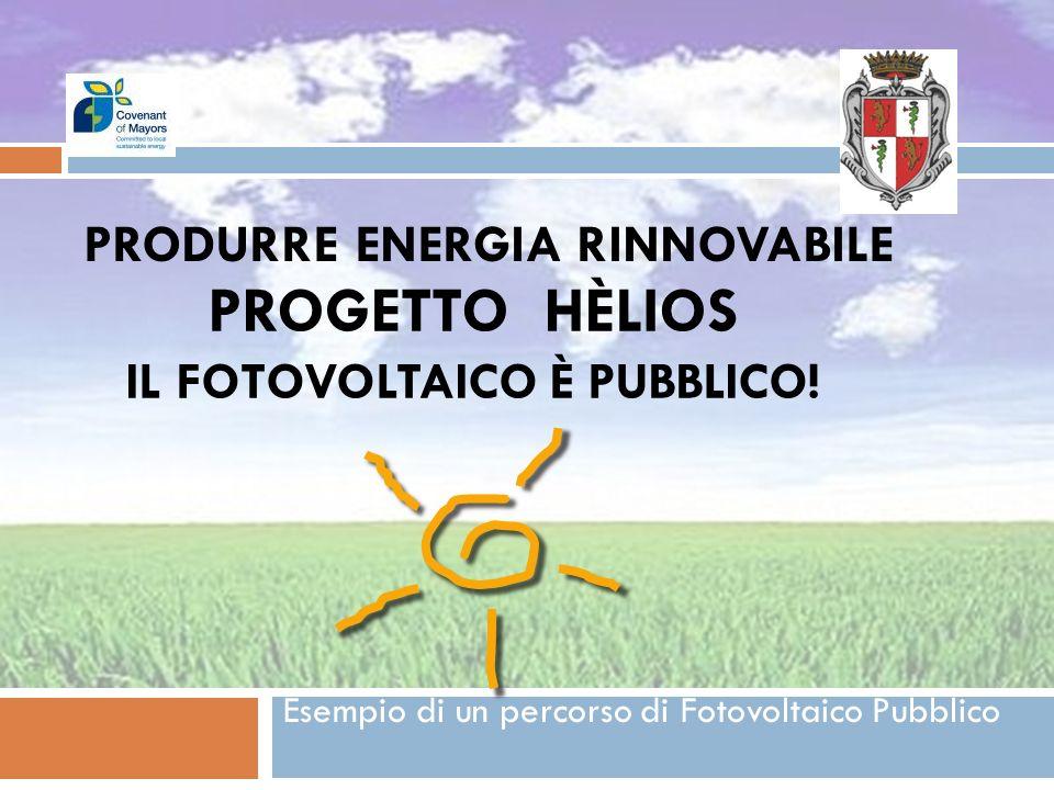 PROGETTO HÈLIOS IL FOTOVOLTAICO È PUBBLICO! Esempio di un percorso di Fotovoltaico Pubblico PRODURRE ENERGIA RINNOVABILE