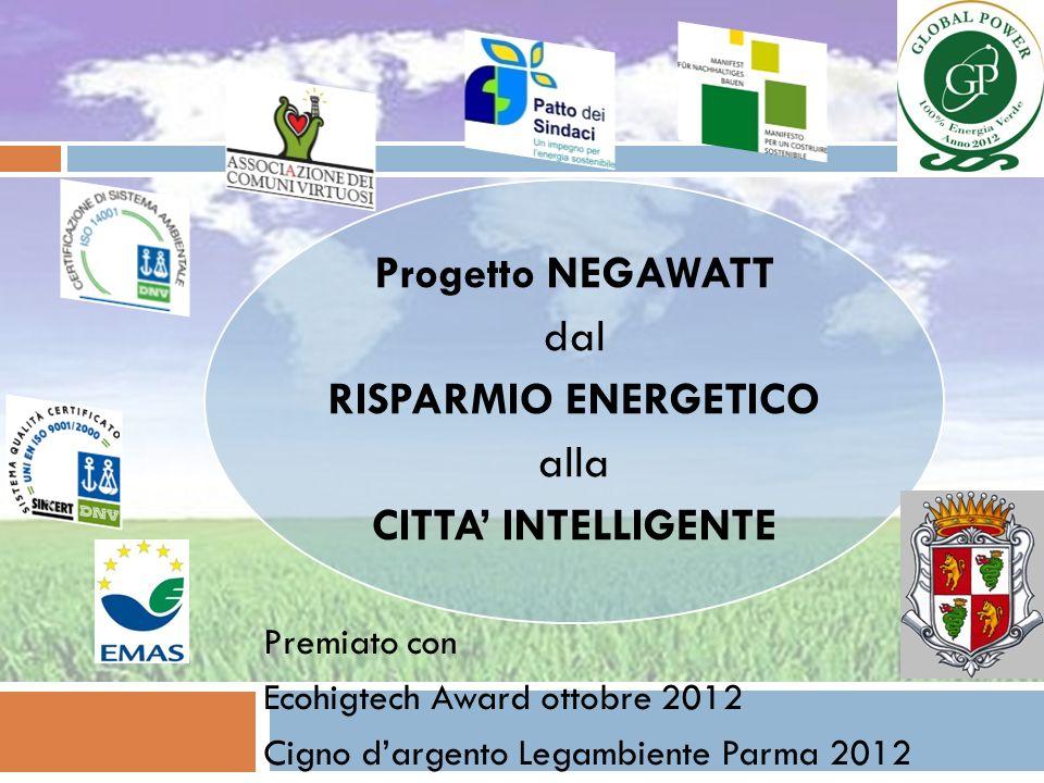 Progetto NEGAWATT dal RISPARMIO ENERGETICO alla CITTA INTELLIGENTE Premiato con Ecohigtech Award ottobre 2012 Cigno dargento Legambiente Parma 2012