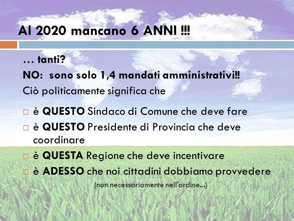 Al 2020 mancano 6 ANNI !!! … tanti? NO: sono solo 1,4 mandati amministrativi!! Ciò politicamente significa che è QUESTO Sindaco di Comune che deve far