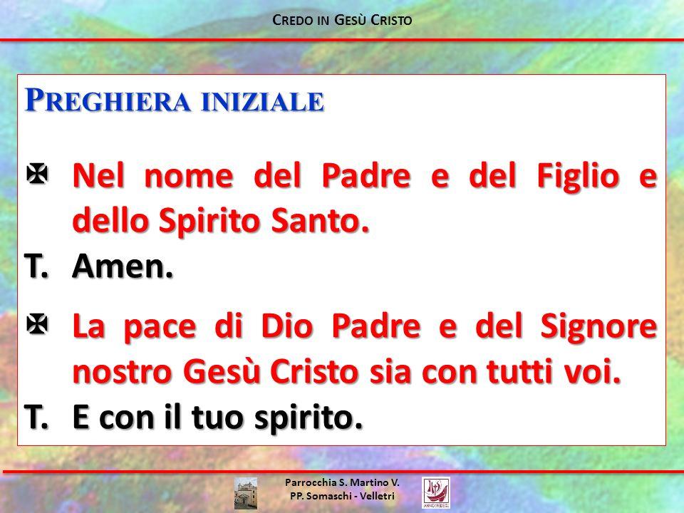 Parrocchia S. Martino V. PP. Somaschi - Velletri C REDO IN G ESÙ C RISTO P REGHIERA INIZIALE Nel nome del Padre e del Figlio e dello Spirito Santo. Ne