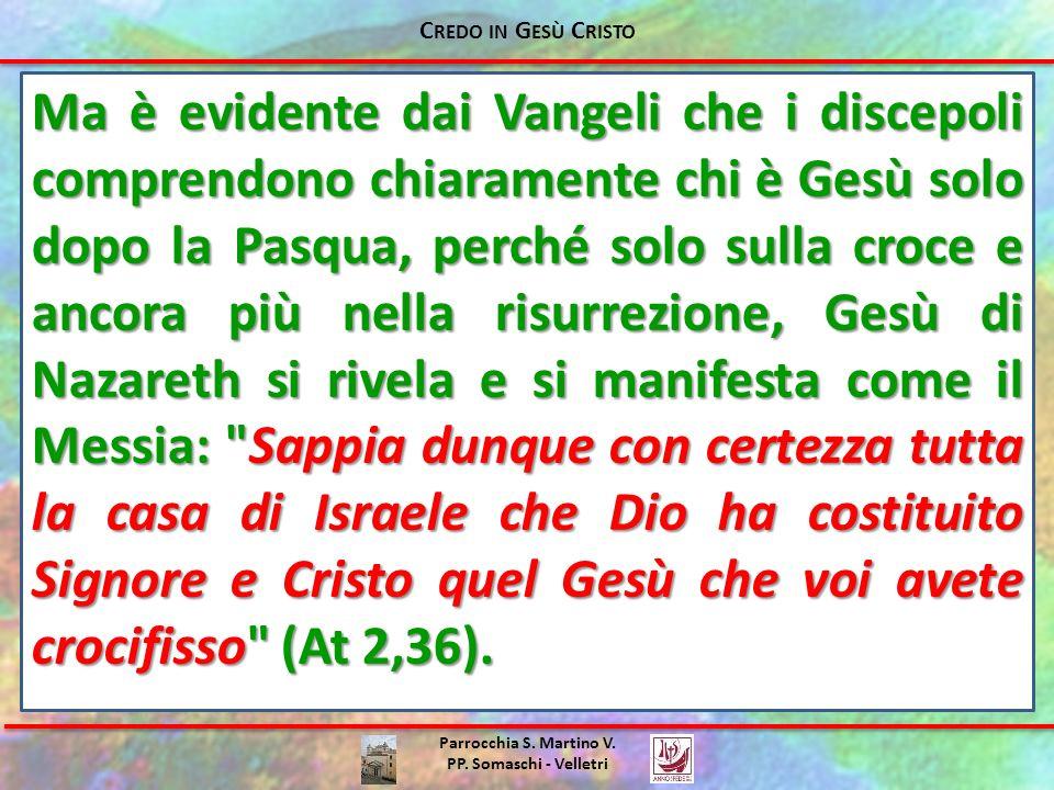 Parrocchia S. Martino V. PP. Somaschi - Velletri Ma è evidente dai Vangeli che i discepoli comprendono chiaramente chi è Gesù solo dopo la Pasqua, per