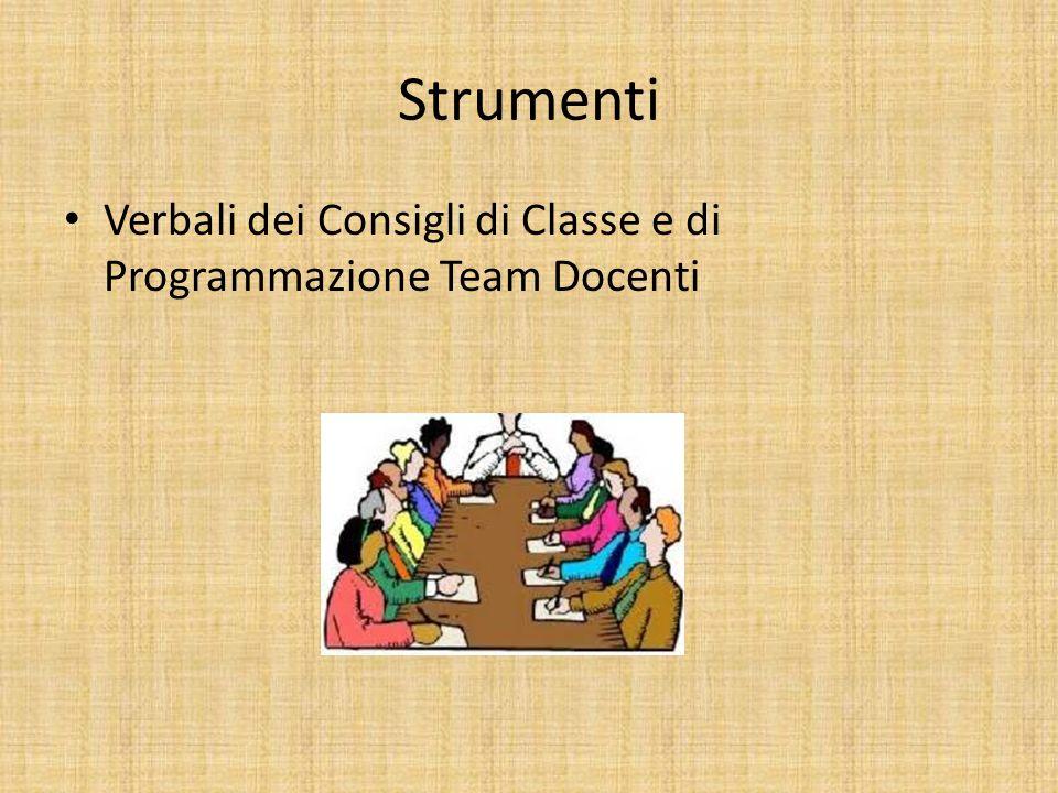 Strumenti Verbali dei Consigli di Classe e di Programmazione Team Docenti