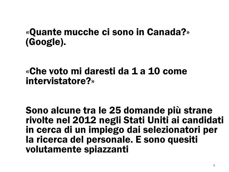 5 «Quante mucche ci sono in Canada?» (Google). «Che voto mi daresti da 1 a 10 come intervistatore?» Sono alcune tra le 25 domande più strane rivolte n