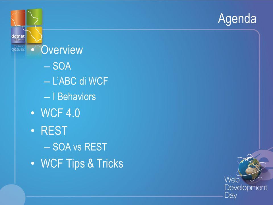 Fare clic per modificare lo stile del titolo Fare clic per modificare stili del testo dello schema – Secondo livello Terzo livello – Quarto livello » Quinto livello SOA Tenets Boundaries are Explicit Services are Autonomous Services Shares Schema and Contracts, not Classes or Types Compatibility is Policy-Based