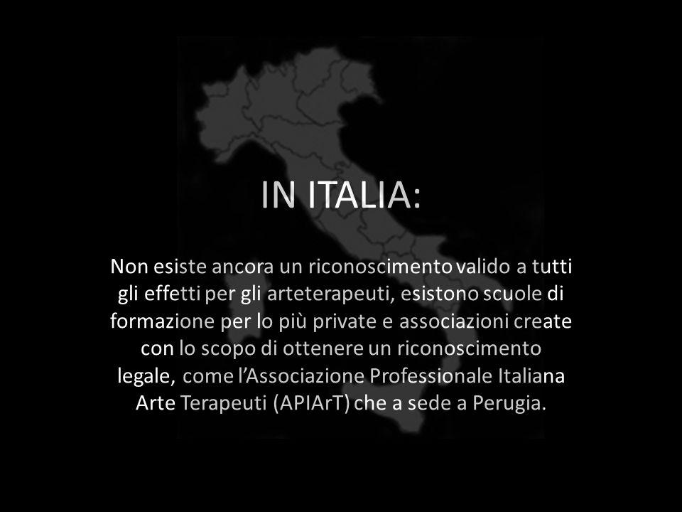 IN ITALIA: Non esiste ancora un riconoscimento valido a tutti gli effetti per gli arteterapeuti, esistono scuole di formazione per lo più private e as