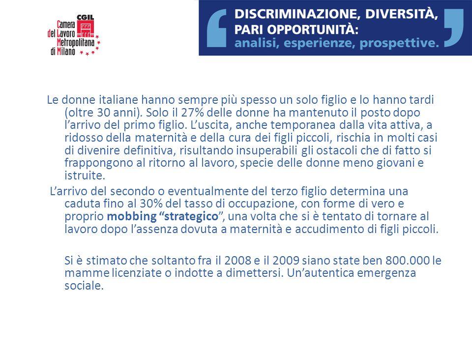 Le donne italiane hanno sempre più spesso un solo figlio e lo hanno tardi (oltre 30 anni). Solo il 27% delle donne ha mantenuto il posto dopo larrivo
