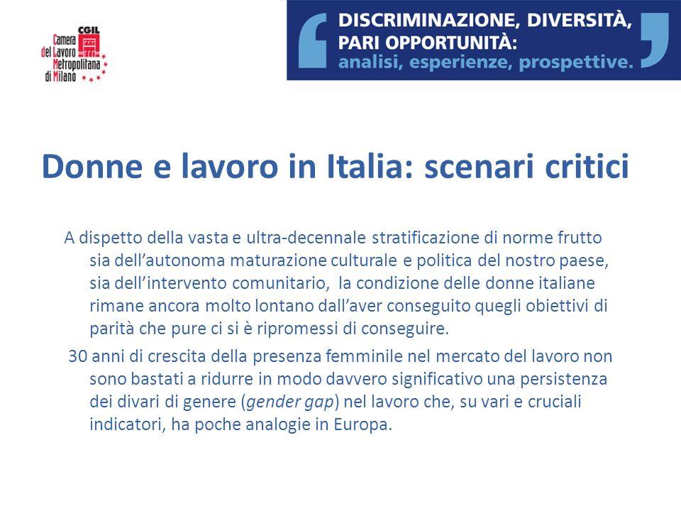 Donne e lavoro in Italia: scenari critici A dispetto della vasta e ultra-decennale stratificazione di norme frutto sia dellautonoma maturazione cultur