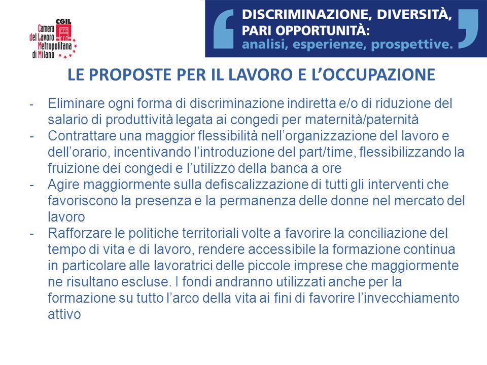 LE PROPOSTE PER IL LAVORO E LOCCUPAZIONE - Eliminare ogni forma di discriminazione indiretta e/o di riduzione del salario di produttività legata ai co