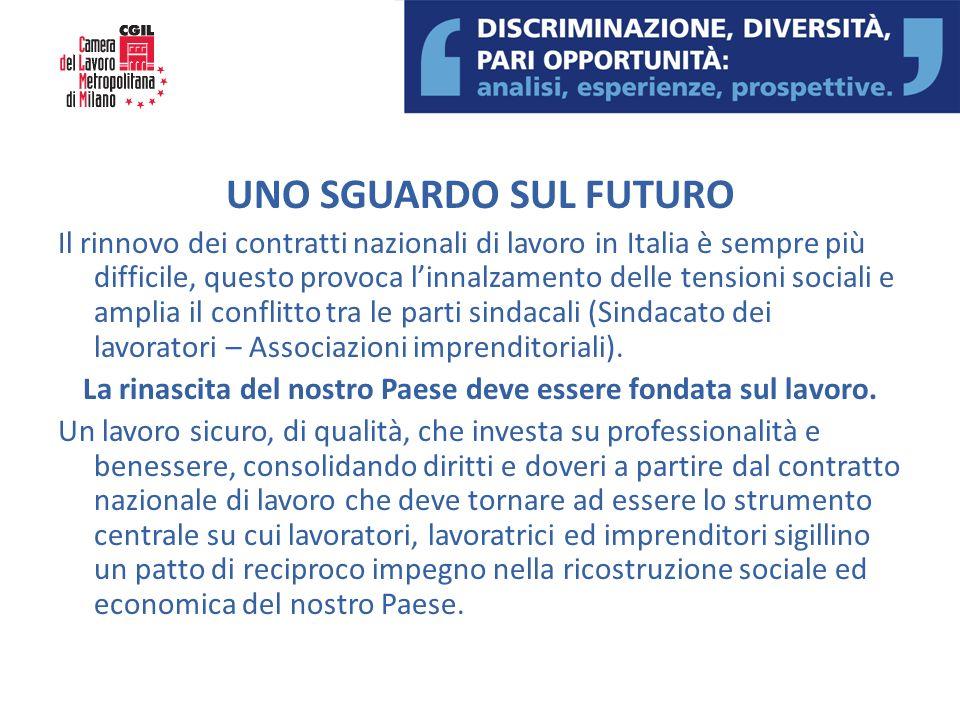 UNO SGUARDO SUL FUTURO Il rinnovo dei contratti nazionali di lavoro in Italia è sempre più difficile, questo provoca linnalzamento delle tensioni soci