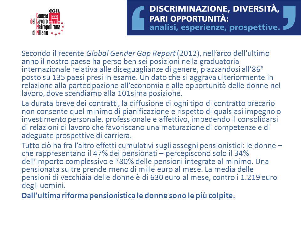 Secondo il recente Global Gender Gap Report (2012), nellarco dellultimo anno il nostro paese ha perso ben sei posizioni nella graduatoria internaziona