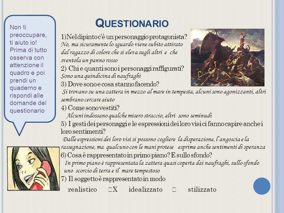Q UESTIONARIO 1)Nel dipinto cè un personaggio protagonista.