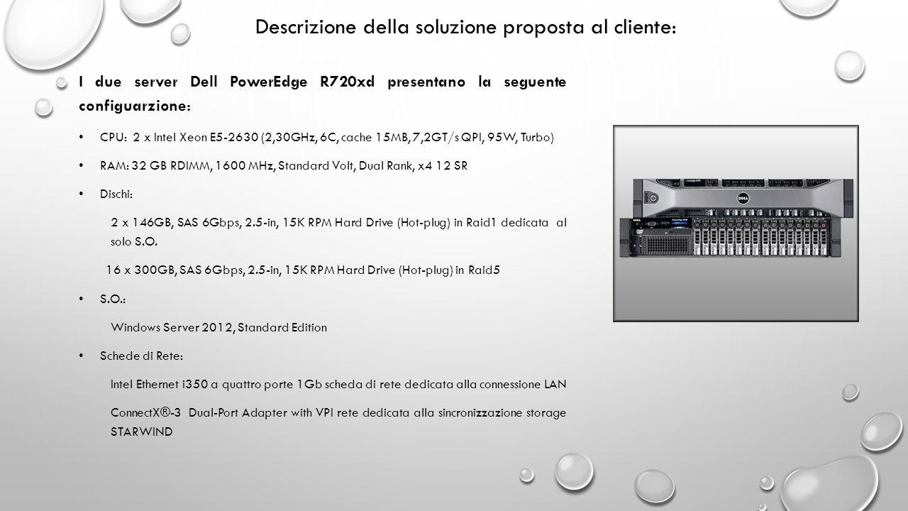 Descrizione della soluzione proposta al cliente: I due server Dell PowerEdge R720xd presentano la seguente configuarzione: CPU: 2 x Intel Xeon E5-2630